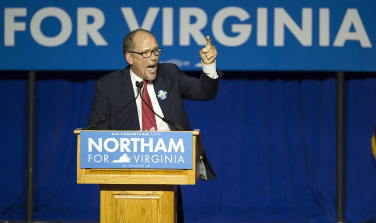 Image: Democratic National Committee Chairman Tom Perez speaks at the Northam For Governor election night party