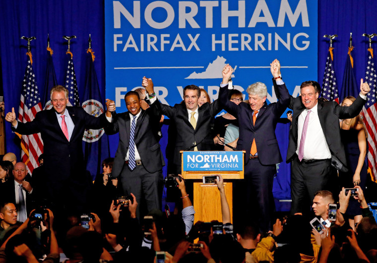 Image: Virginia Governor Elect Ralph Northam celebrates his election night rally in Fairfax