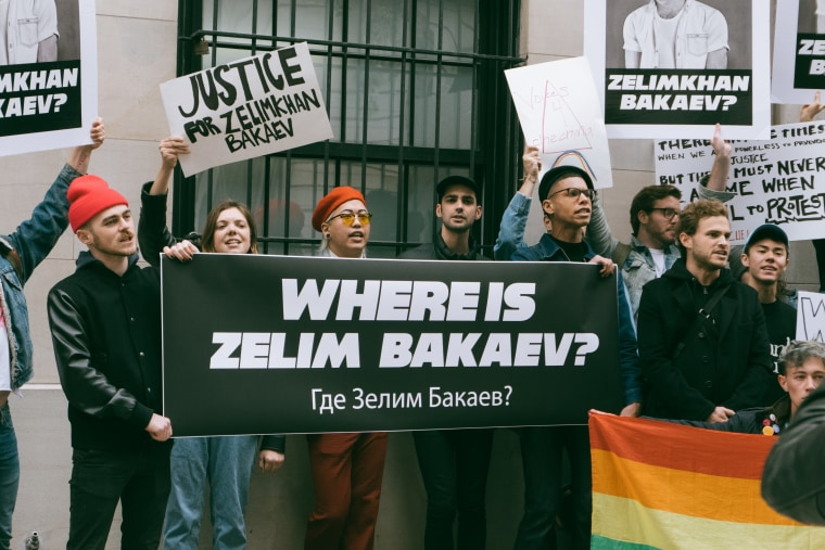 Members of Voices 4 Chechnya gather in front of the Russian Consulate in New York City to protest the disappearance of Zelimkhan Bakaev. Photo courtesy of Voices 4 Chechnya.