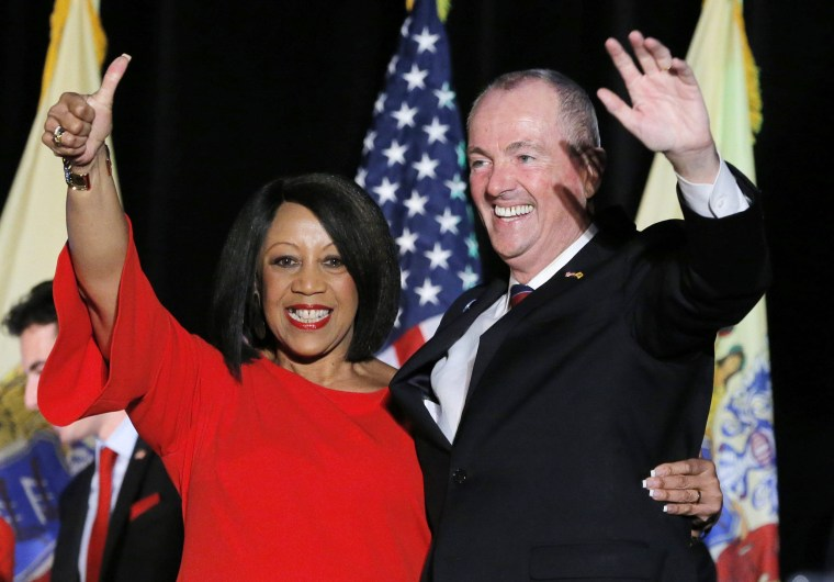 Image: Murphy and Oliver celebrate after being elected Governor of New Jersey in Asbury Park