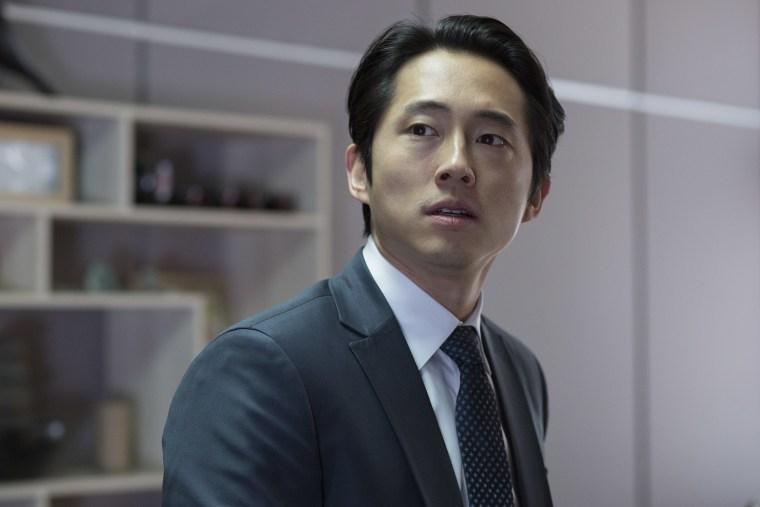 """Steven Yeun as Derek Cho in the horror, action film """"Mayhem,"""" an RLJE Films release."""