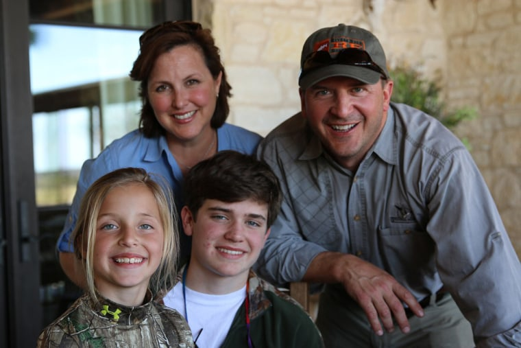 Image: Melita Keith, 45, of Victoria, Texas with her husband John, son Jackson and daughter Lucy