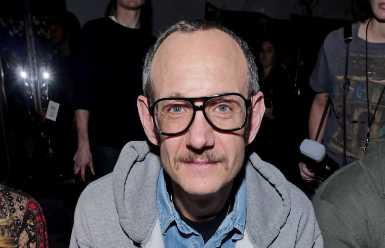 Terry Richardson sits in the front row at New York Fashion Week in 2017.