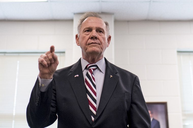 Republican candidate for U.S. Senate Roy Moore speaks during a candidates' forum in Valley, Alabama, on Aug. 3.