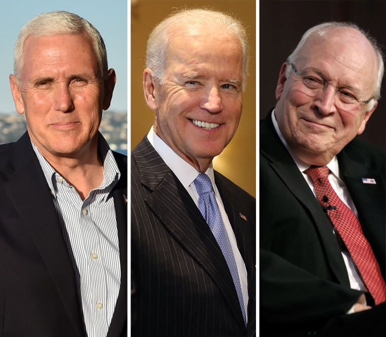 Image: A combo photo of Vice President Mike Pence and former Vice Presidents Joe Biden and Dick Cheney