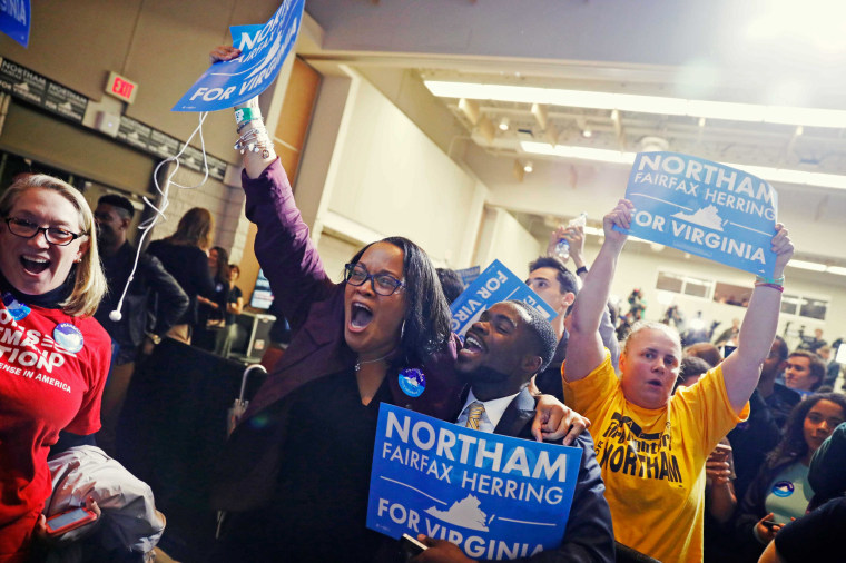 Image: Supporters of Democratic gubernatorial candidate Ralph Northam begin to celebrate as results start to come in at Northam's election night rally on the campus of George Mason University in Fairfax