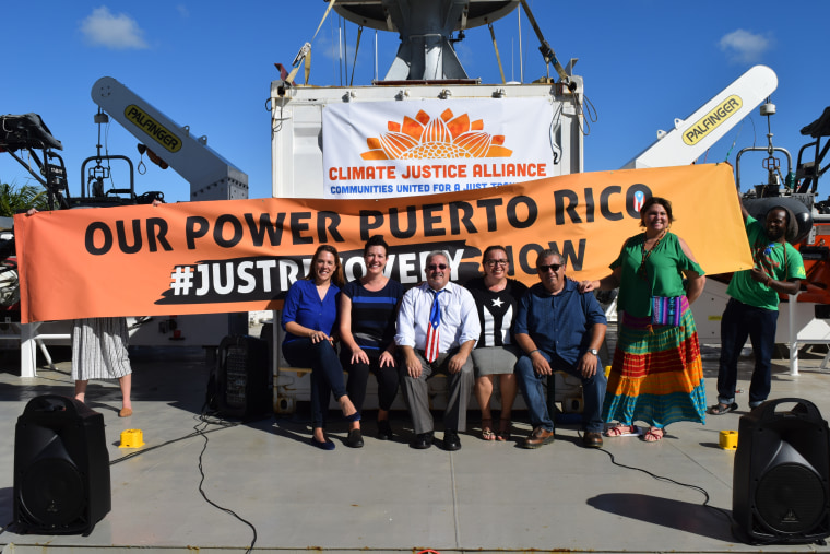 "Local Puerto Rican leaders join the #OurPowerPuertoRico campaign in Miami aboard the Arctic Sunrise Greenpeace ship. They are advocating for a ""just recovery"" in Puerto Rico."
