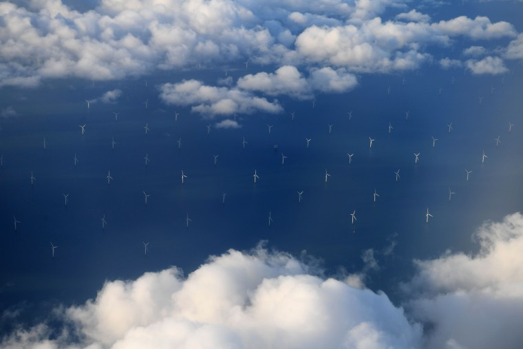 Image: Turbines cover Liverpool Bay, part of the Burbo Bank Offshore Wind Farm, off the coast of northern England