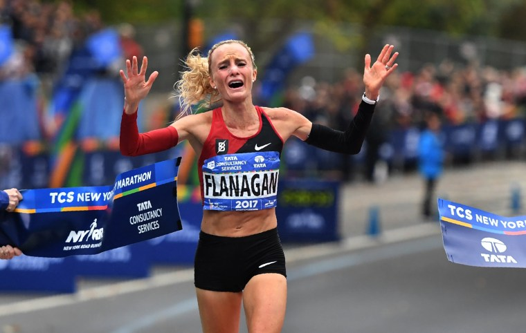 Image: Shalane Flanagan crosses the finish line of the of the New York City Marathon