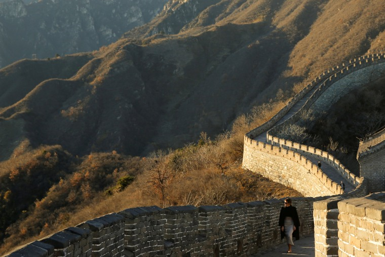 Image: U.S. first lady Melania Trump visits the Mutianyu section of the Great Wall of China in Beijing