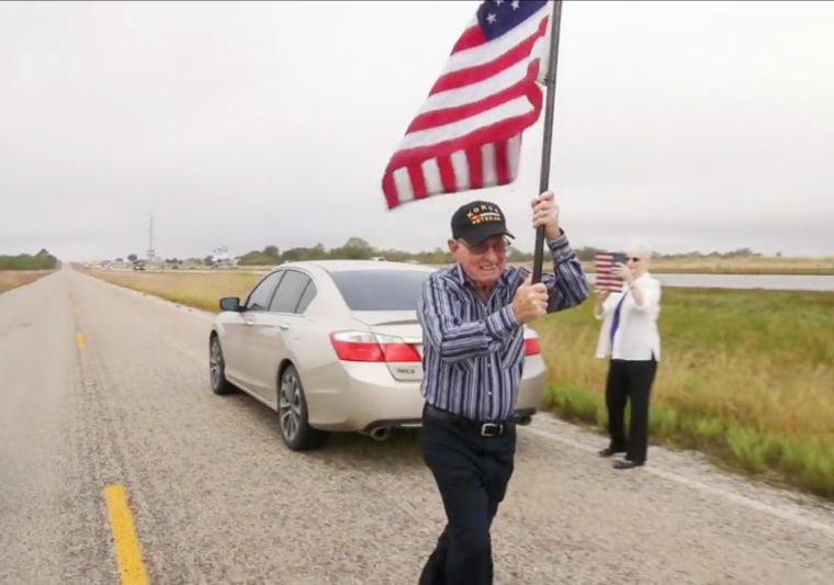 Image: Roy Harris, 86 year old Korea War Veteran from Pleasanton Texas participating in the Old Glory Relay