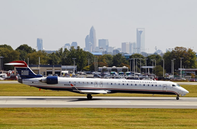 Image: A jet prepares for takeoff at the Charlotte/Douglas International airport in Charlotte, North Caarolina on Sept. 27, 2012.