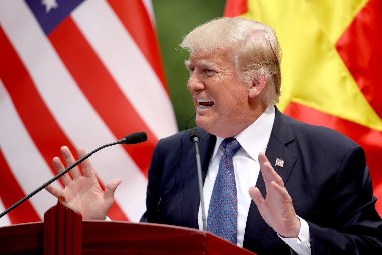 Image: US President Donald J. Trump speaks during a press conference at the Presidential Palace in Hanoi, Vietnam