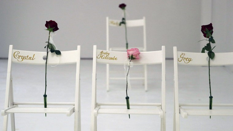 A memorial for the victims of the shooting at Sutherland Springs First Baptist Church includes 26 white chairs, each painted with a cross and and rose, is displayed in the church Sunday, Nov. 12, 2017, in Sutherland Springs, Texas.
