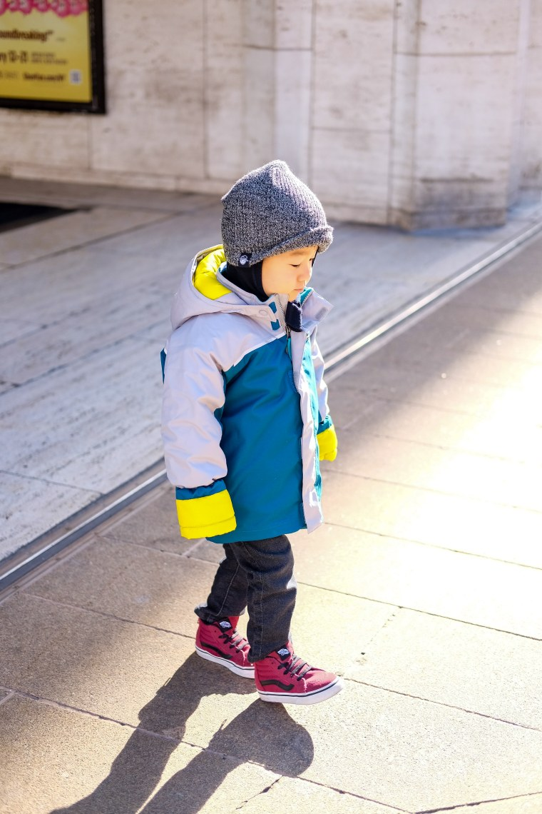 Bash hits the playground on a nearly daily basis in this winter-wear staple.