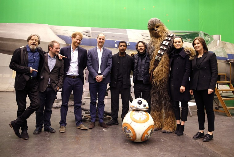 Prince William and Prince Harry toured Pinewood to visit the production workshops and meet the creative teams working behind the scenes on the Star Wars films.