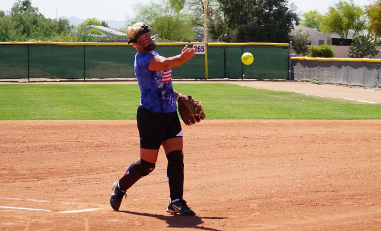 For the past 50 plus years, Norma Franzese, 83, has been pitching softball. She wears a mask just in case someone hits a line drive at her and she can't dodge out of the way.
