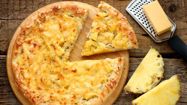 Hawaiian pizza with pineapple