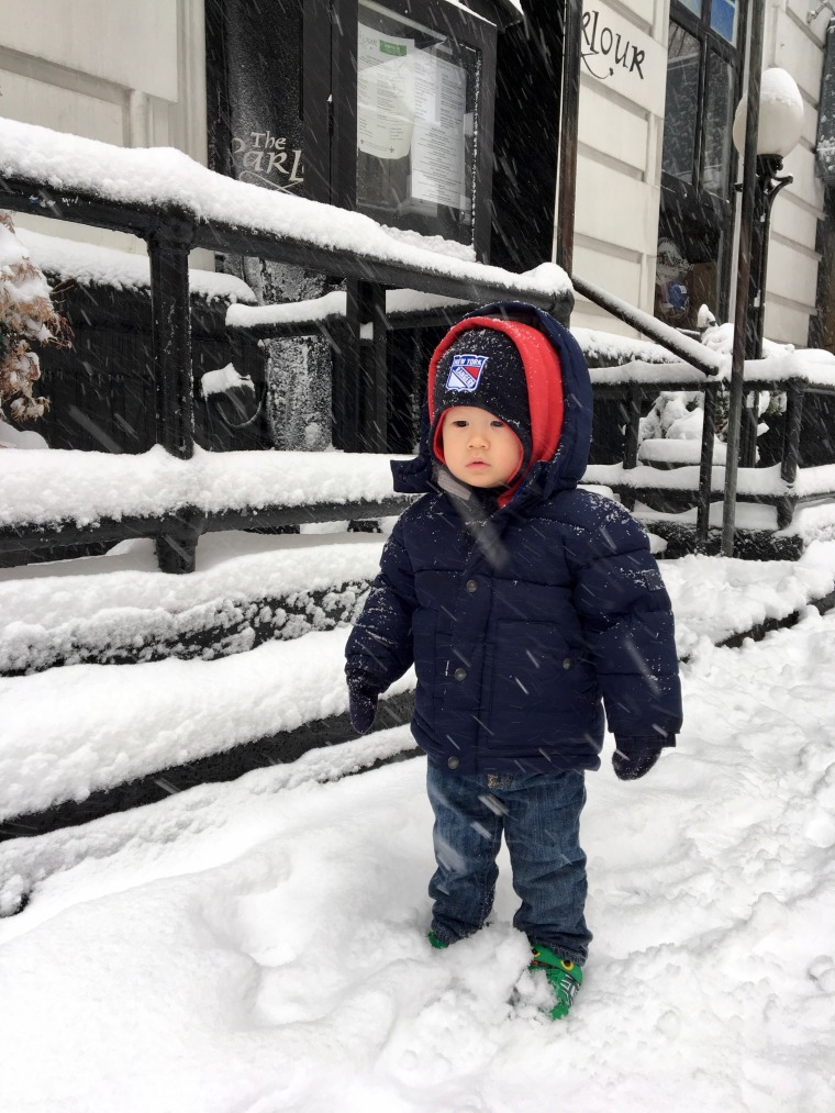 The durable GAP fleece jacket got Bash to his play date warm and dry ... in the middle of a snowstorm!