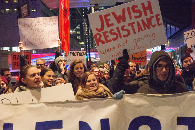 Activists led by the IfNotNow Jewish social justice group march to protest Steve Bannon's appearance at the Zionist Organization of America Gala on Nov. 12.