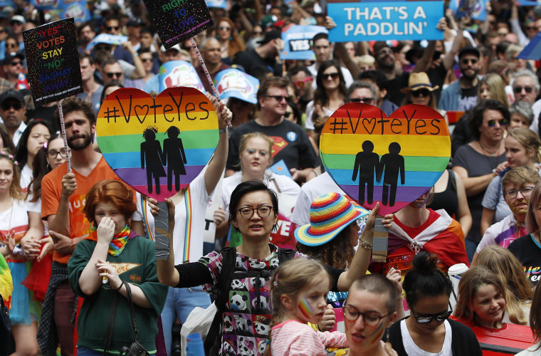 Supporters of marriage equality march near Victoria Park in Sydney, Australia. As a self-described straight crocodile hunter from the country's rugged and socially conservative far north, Australian lawmaker Warren Entsch doesn't fit many people's mold of a gay-rights activist.