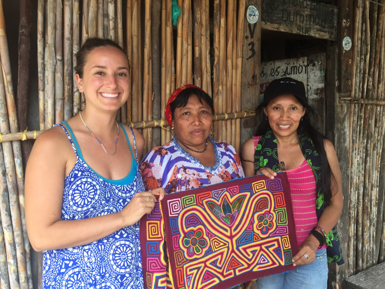 Founder of Teysha Sophie Eckrich with artisans in Guatemala.