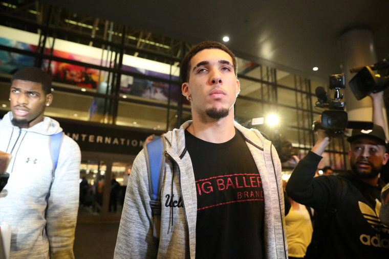 Image: UCLA basketball player LiAngelo Ball arrives at LAX after flying back from China where he was detained on suspicion of shoplifting, in Los Angeles