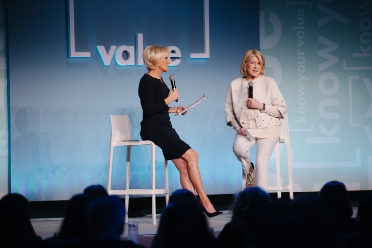 Mika Brzezinski speaks to Martha Stewart at a Know Your Value conference in New York City on Oct. 30.