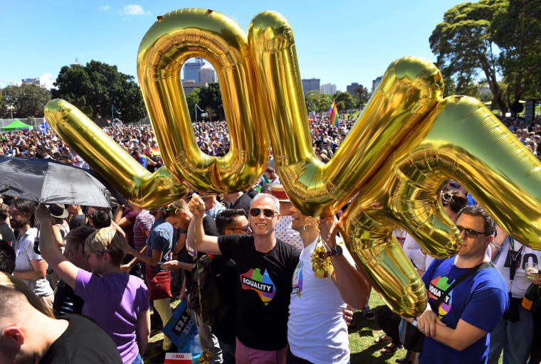 "Image: Supporters of the same-sex marriage ""Yes"" vote gather to celebrate"