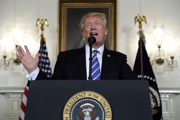 Image: President Donald Trump speaks in the Diplomatic Reception Room of the White House,