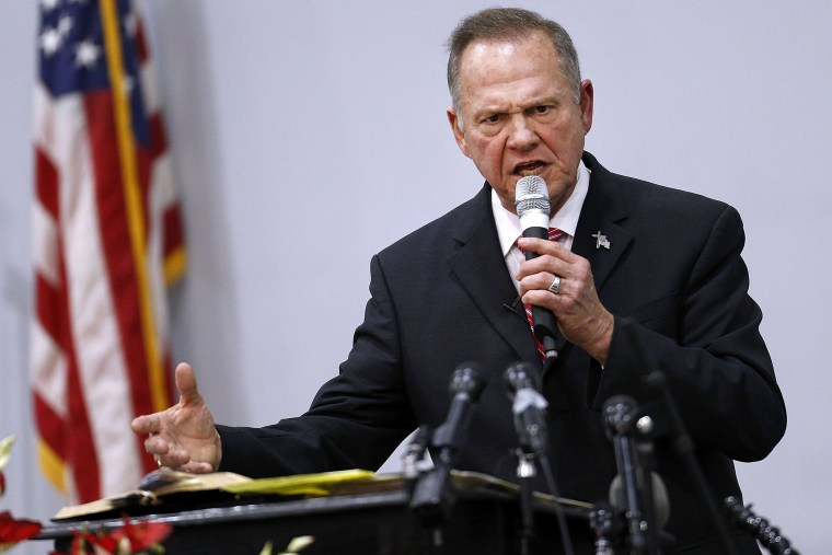 Image: Embattled GOP Senate Candidate Judge Roy Moore Attends Church Revival Service At Baptist Church In Jackson, Alabama