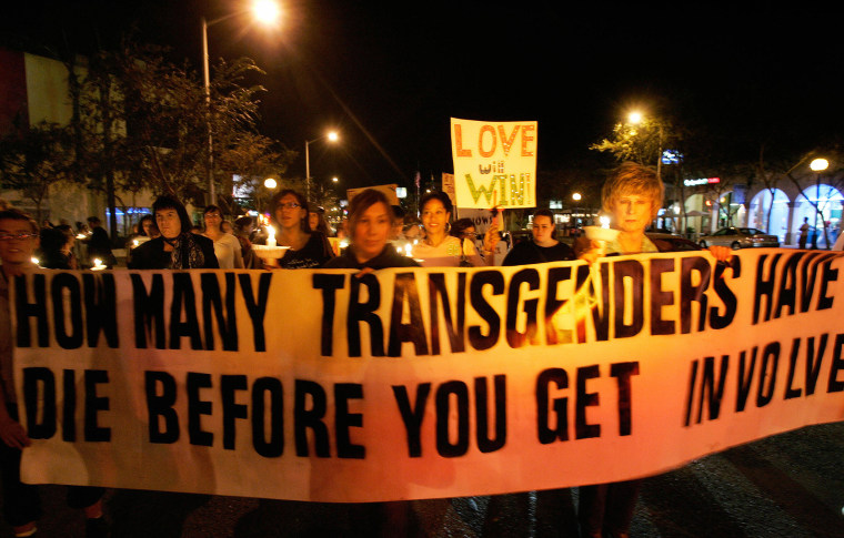 Image: Members of the LGBTQ community demonstrate during Transgender Day of Remembrance in West Hollywood