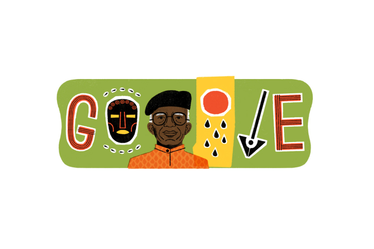 Image: The Google Doodle to celebrate Chinua Achebe's 87th Birthday.