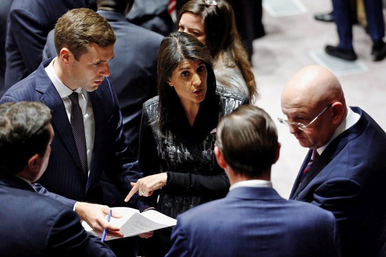 Image: Russian Ambassador to the UN Nebenzya and U.S. Ambassador to the UN Haley speak before a meeting at the UN headquarters in New York
