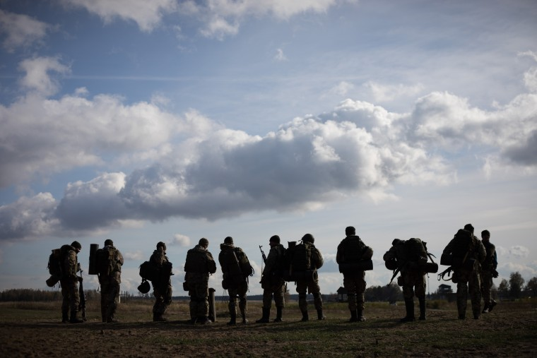 Image: Soldiers stand in a final formation at the end of training