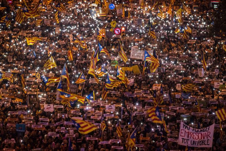 Image: Catalonia's Independence supporters march during a demonstration