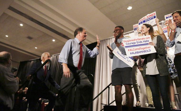 Image: Former Vice President Joe Biden speaks at a rally to campaign for Democrat Doug Jones