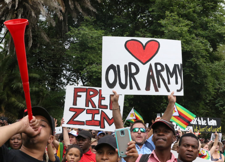 Image: Protesters take to the streets in Harare