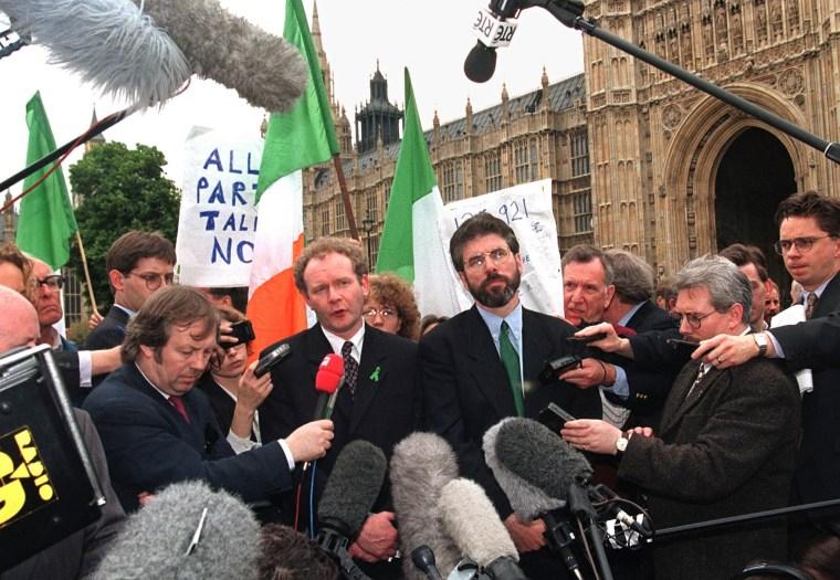 Image: Newly elected Sinn Fein MPs Gerry Adams