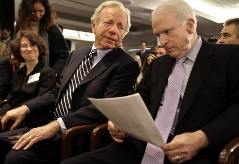 Image: McCain And Lieberman Discuss War In Iraq