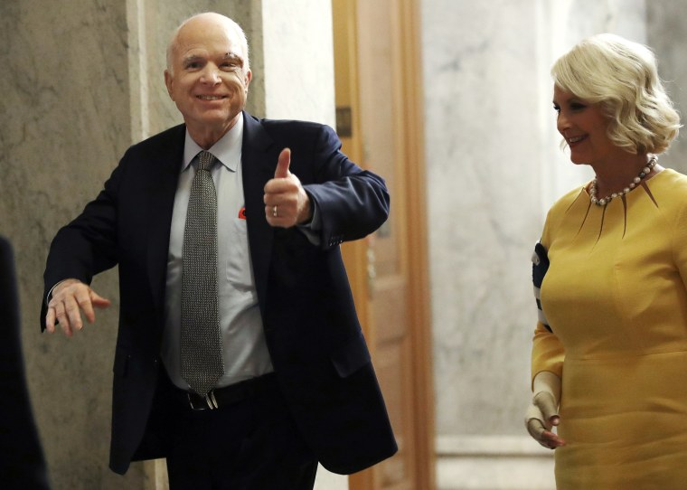 Image: Sen. John McCain (R-AZ) Back On Capitol Hill For Health Care Vote, After Cancer Diagnosis Last Week
