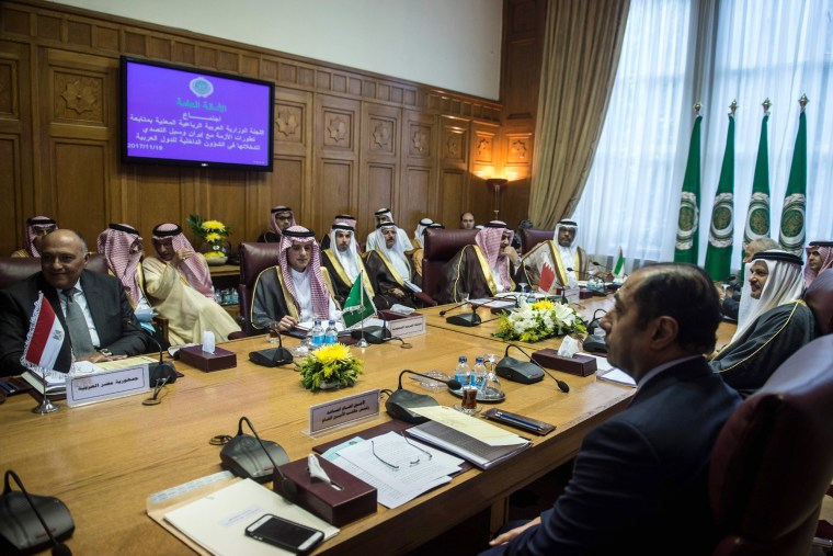 "Image: Arab foreign ministers gathered in Cairo at Saudi Arabia's request for an extraordinary meeting to discuss alleged ""violations"" committed by Iran in the region."