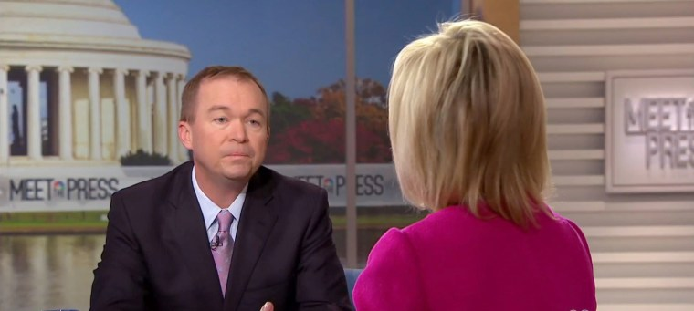 Image: Director of the Office of Management and Budget Mick Mulvaney appears on Meet the Press, Nov. 19. 2017.