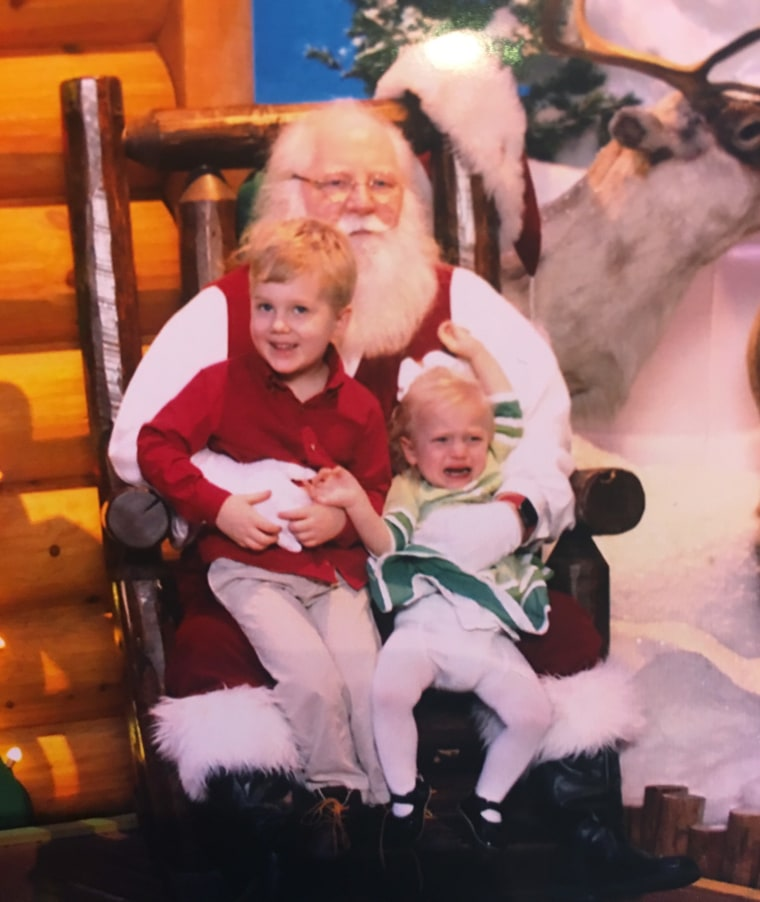 Kathryn Hawks' kids, Jake and Maggie, had mixed feelings about their photo shoot with Santa.