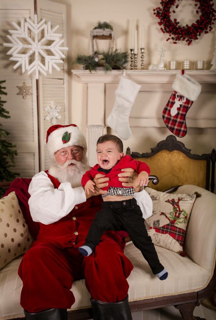 Kristi Caradonna says after this photo of her son, Connor, was taken, he punched Santa in the face hard enough to break his glasses.