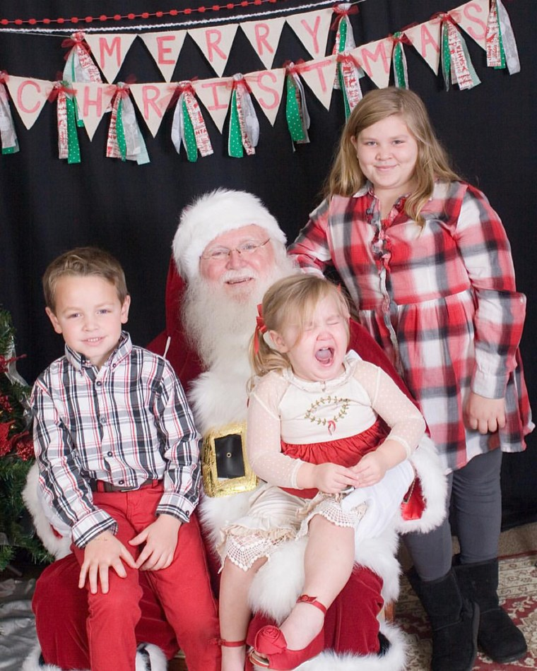 Ashley Johnson says her youngest daughter was excited to see Santa while putting on her festive dress and preparing for the day. Once she saw him, however, things changed.