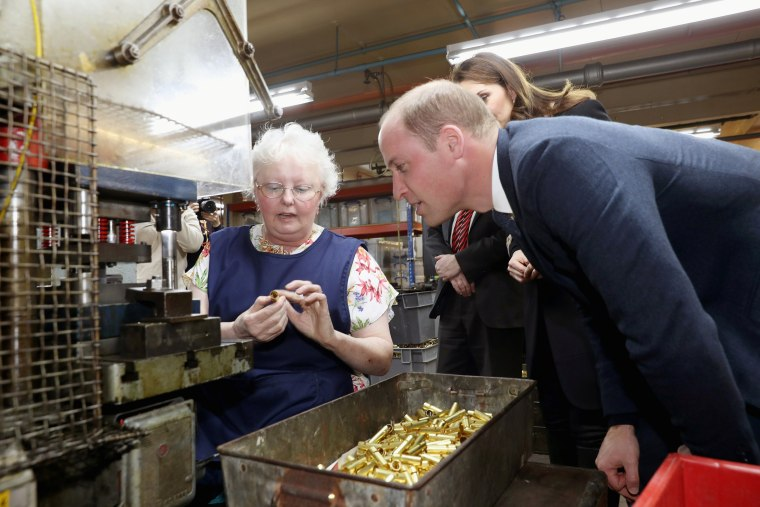 Britain's Prince William and Catherine Duchess of Cambridge visit Acme Whistles in Birmingham