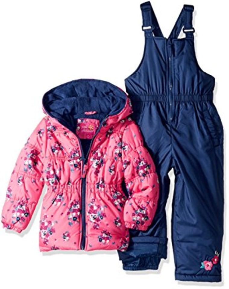 Toddler girls pink snowsuit