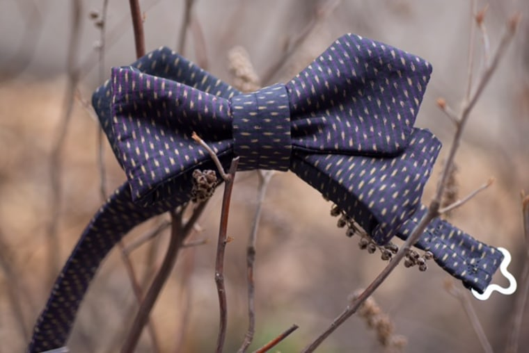One of Tony Innouvong's bow ties made with traditional Lao fabric.