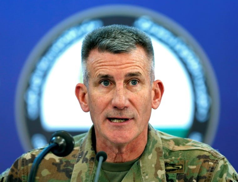 Image: U.S. Army General John Nicholson, Commander of Resolute Support forces and U.S. forces in Afghanistan, speaks during a news conference in Kabul, Afghanistan